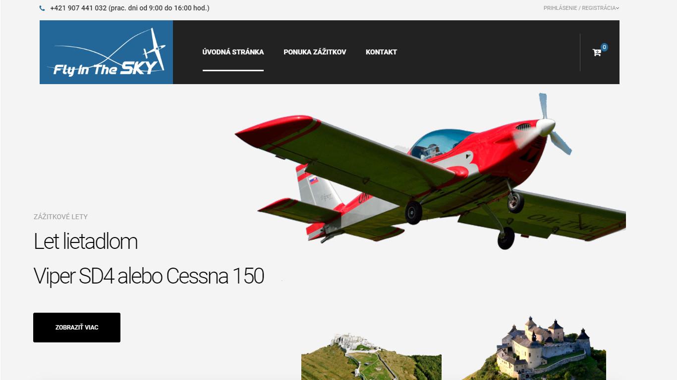 FlyInTheSky webová stránka